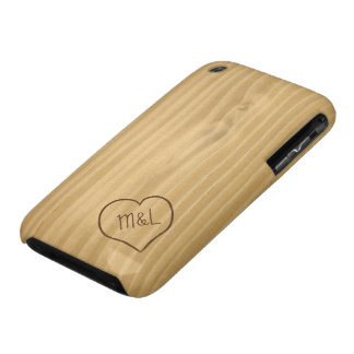 Engraved Heart and Initials on Wood Grain texture iPhone 3 Covers