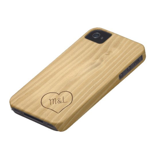 Engraved Heart and Initials on Wood Grain texture iPhone 4 Cover