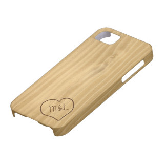 Engraved Heart and Initials on Wood Grain texture iPhone 5 Case