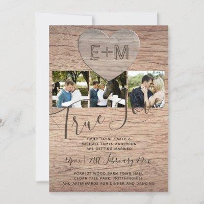 Engraved Heart Rustic Photo Initials Wood Wedding Invitation