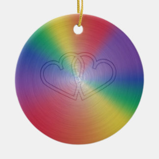 Engraved hearts in rainbow brushed steel plate Double-Sided ceramic round christmas ornament