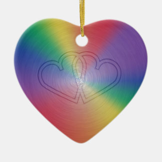 Engraved hearts in rainbow brushed steel plate Double-Sided heart ceramic christmas ornament