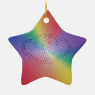 Engraved hearts in rainbow brushed steel plate Double-Sided star ceramic christmas ornament