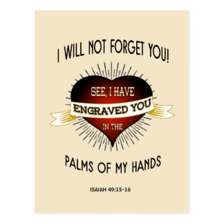 Engraved in the palms of God's hands, Scripture Postcard