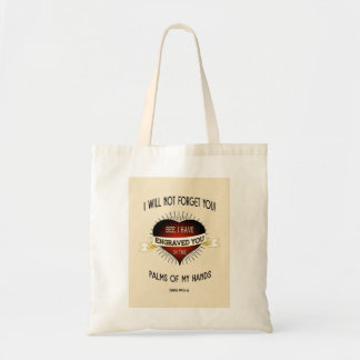 Engraved in the palms of God's hands, Scripture Tote Bag