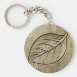 Engraved leaf basic round button keychain