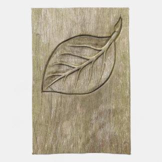 Engraved leaf hand towel