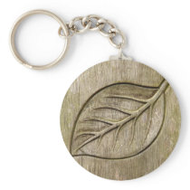 Engraved leaf keychain