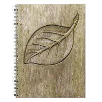 Engraved leaf notebook