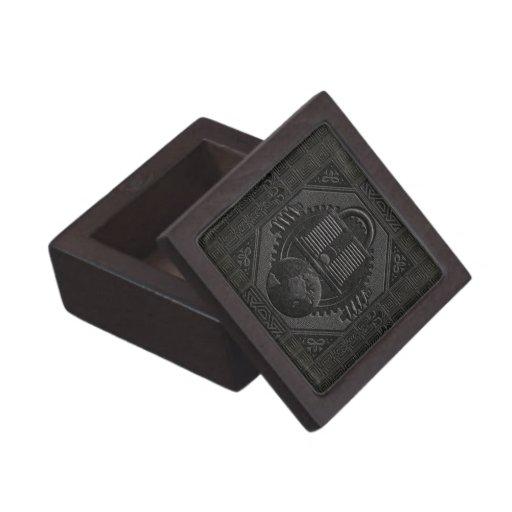Engraved-Like Black Leather w/ Earth & Padlock Premium Keepsake Box