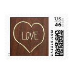 Engraved LOVE on Cherry Wood-grain texture Postage