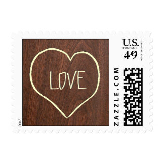 Engraved LOVE on Cherry Wood-grain texture Stamp