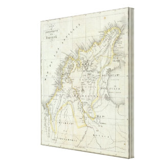Engraved Map of Colombia Canvas Print