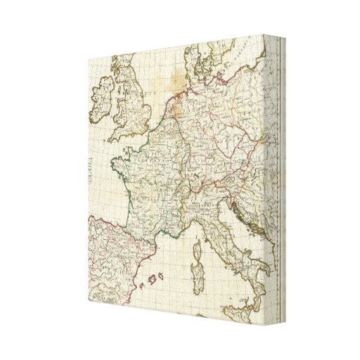 Engraved Map of Europe Canvas Print