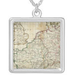Engraved Map of Europe Square Pendant Necklace