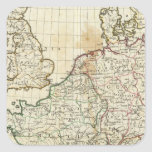 Engraved Map of Europe Square Sticker