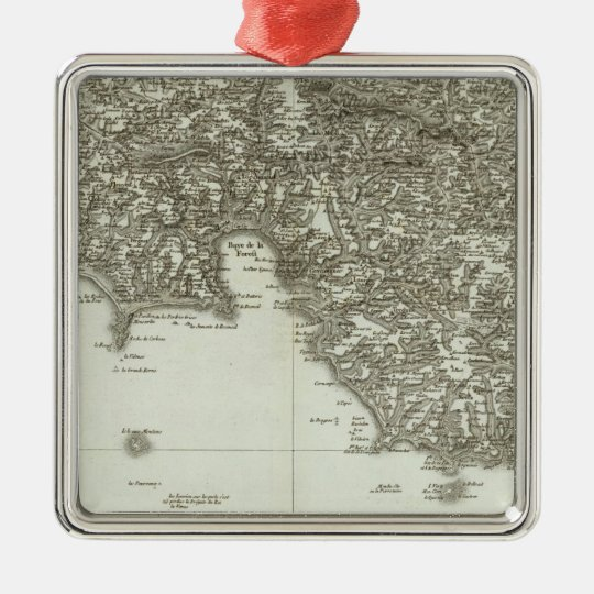Engraved map of France 2 Metal Ornament