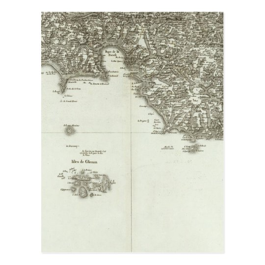 Engraved map of France 2 Postcard