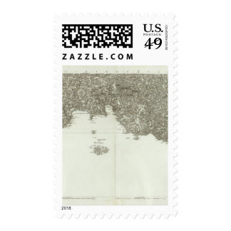 Engraved map of France 2 Stamps