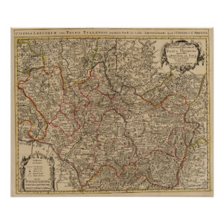 Engraved map of France Poster