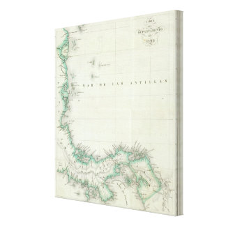 Engraved Map of Panama Canvas Prints
