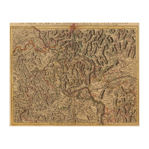 Engraved Map Of Rhine River Valley Wood Canvas Zazzle
