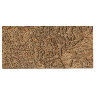 Engraved map of Rhine River Valley Wood USB Flash Drive