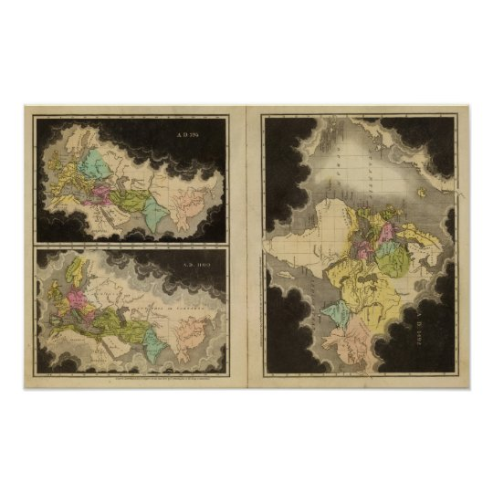 engraved maps of the world poster