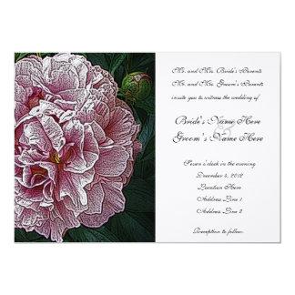 Engraved Pink Peony Wedding Invitation