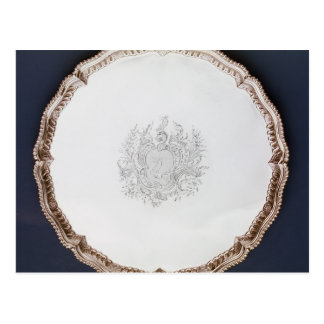 Engraved salver, 18th century postcard