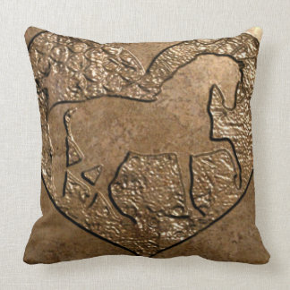 Engraved Silhouetted Horse Throw Pillow