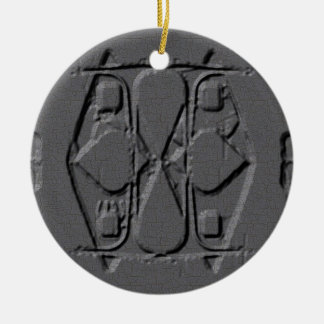 Engraved Style Ceramic Ornament