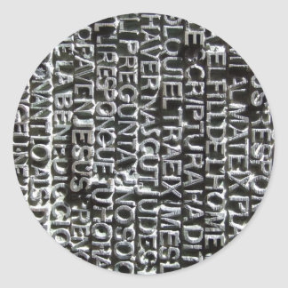Engraved Text Pattern Classic Round Sticker