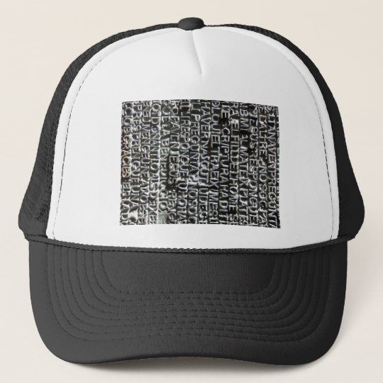 Engraved Text Pattern Trucker Hat