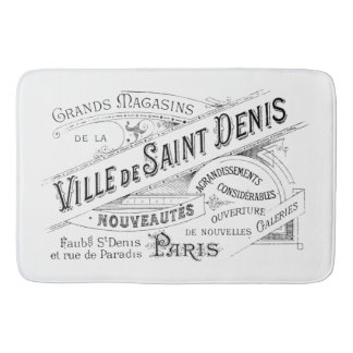 Engraved Vintage French Typography Bathroom Mat