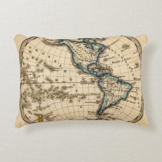 Engraved Western Hemisphere Map Decorative Pillow