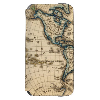 Engraved Western Hemisphere Map iPhone 6/6s Wallet Case