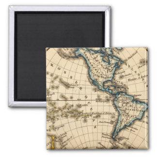 Engraved Western Hemisphere Map Magnet