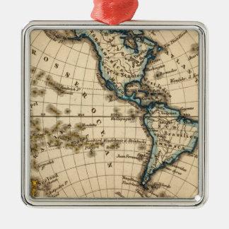 Engraved Western Hemisphere Map Metal Ornament