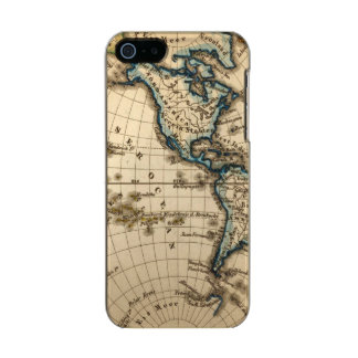 Engraved Western Hemisphere Map Metallic iPhone SE/5/5s Case