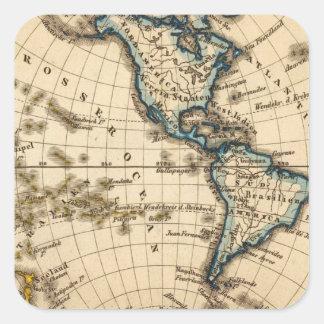 Engraved Western Hemisphere Map Square Sticker