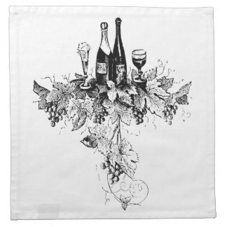 Engraved Wine and Grapes Cocktail Napkins