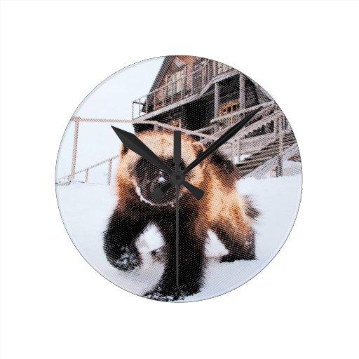 Engraved Wolverine Round Clock