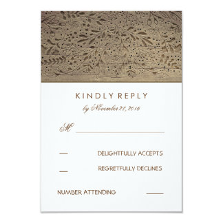 Engraved Wood Rustic Floral Wedding RSVP Cards