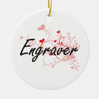 Engraver Artistic Job Design with Hearts Double-Sided Ceramic Round Christmas Ornament
