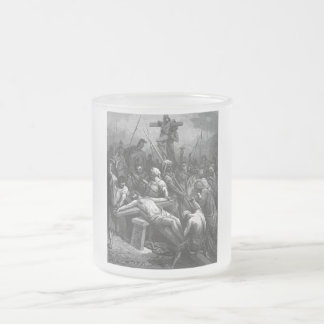 Engraving Jesus Crucifixion 1866 by Gustave Dore 10 Oz Frosted Glass Coffee Mug
