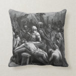 Engraving Jesus Crucifixion 1866 by Gustave Dore Pillows