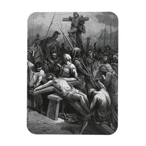 Engraving Jesus Crucifixion 1866 by Gustave Dore Rectangular Photo Magnet
