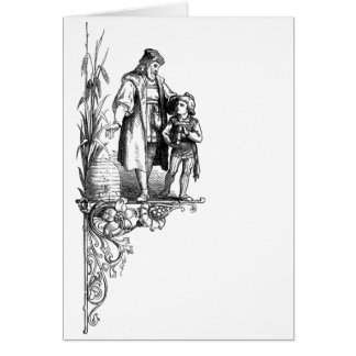 Engraving of Man, Boy and Beehive Card