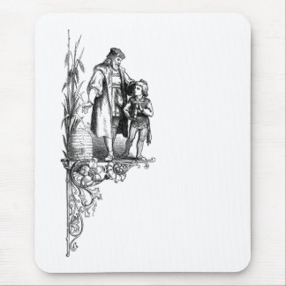 Engraving of Man, Boy and Beehive Mouse Pad